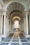 The gallery by Borromini. AT ROME , ITALY , ON 01/06/2018 - Forced perspective gallery by Francesco Borromini in Palazzo Spada. The corridor is much shorter, and Stock Image