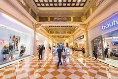 Gallery of boutiques at Venetian Macao hotel and casino resort, Macau. MACAU, CHINA - SEPT 2017: Gallery of various boutiques and stores at the Venetian Macao stock photos