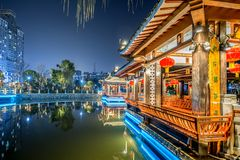 Gallery bridge-Ruzi Pavilion Park night. Kiosks in the city of Nanchang province Xihu District in Jiangxi, West Lake, named for the memorial of the Eastern Han Stock Photo