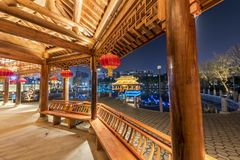 Gallery bridge-Ruzi Pavilion Park night. Kiosks in the city of Nanchang province Xihu District in Jiangxi, West Lake, named for the memorial of the Eastern Han Stock Photos