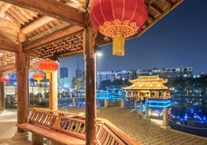 Gallery bridge-Ruzi Pavilion Park night. Kiosks in the city of Nanchang province Xihu District in Jiangxi, West Lake, named for the memorial of the Eastern Han Royalty Free Stock Images