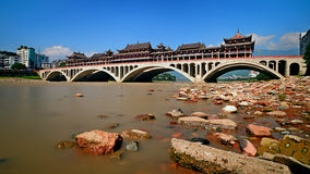 Gallery bridge under the sun. Qingyi River under the sun and beautiful Gallery bridge under the sun,blue sky,very nice weather Royalty Free Stock Photos