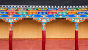 Gallery in a Buddhist monastery. Fragement of building decorations in a Buddhist monastery in Ladakh province of India Royalty Free Stock Images