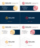 Gallery business card. Colored squares 3d business cards, dark blue, yellow and red colors Royalty Free Stock Photo