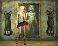 Gallery cats. Girl against the background of hand-painted paintings with cats Royalty Free Stock Image