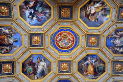 Gallery Ceiling Portion in Vatican Museums Stock Photos