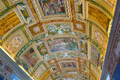 Gallery ceiling at the Vatican Museum in the Vatican Royalty Free Stock Photos