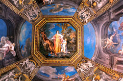 Gallery Ceiling in Vatican Museums royalty free stock image