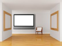 Gallery with chair and lcd tv Royalty Free Stock Photography