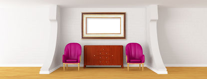 Gallery with chairs and bureau Royalty Free Stock Images