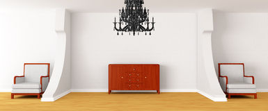 Gallery with chairs, bureau and black chandelier Royalty Free Stock Photos