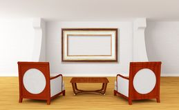 Gallery with chairs and wooden table Stock Photography