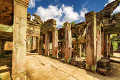 Gallery with columns of ancient Preah Khan temple in Angkor Royalty Free Stock Photos