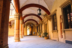 Gallery in the courtyard of the Palazzo Comunale in Bologna. Royalty Free Stock Images