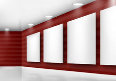 Gallery empty frames on red wall with lighting Royalty Free Stock Photos