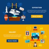 Gallery And Exposition Banners. Gallery and museum exposition horizontal banners with paleontology exposits and visitors looking pictures flat vector Stock Images