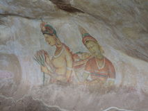 Gallery of frescos in Sigiriya Royalty Free Stock Photo