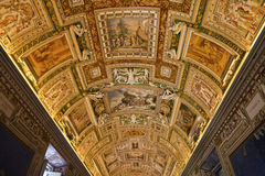 Gallery of the Geographical Maps. Rome in Vatican Museums Royalty Free Stock Photo