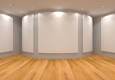 Gallery gray. Empty room interior with white canvas on a gray wall in the gallery Stock Photography