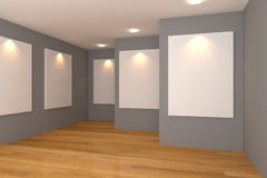 Gallery gray room Royalty Free Stock Photos