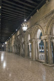 Gallery inside the Doges palace at night in Venice, Italy. A view of the gallery inside the Doges palace at night in Venice, Italy Stock Photos