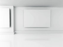 Gallery Interior. Blank Frames On Wall. Architecture Design Back. Ground. 3d Render Illustration Royalty Free Stock Images