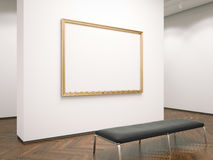 Gallery interior with blank picture frame. 3d rendering Stock Images
