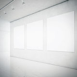 Gallery interior with blank picture frames Stock Photos