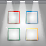 Gallery Interior with empty colorful frames Royalty Free Stock Image