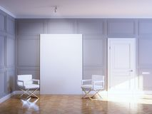 Gallery Interior With Empty Frame On Wooden Floor Royalty Free Stock Photos