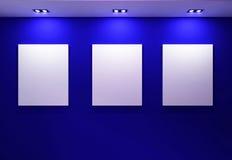 Gallery Interior with empty frames on dark. Blue wall Vector Illustration