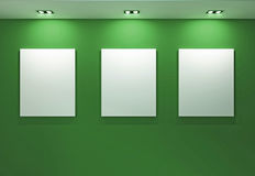Gallery Interior with empty frames on green wall. Banner space Stock Photo