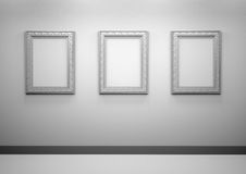Gallery Interior with empty frames on wall Royalty Free Stock Photography
