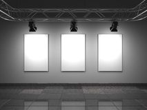 Gallery Interior with Empty Frames on Wall. Stock Photography