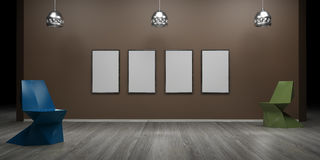 Gallery interior with empty wall and lights 3d render. Ing Stock Images