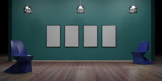 Gallery interior with empty wall and lights 3d render. Ing Stock Photo