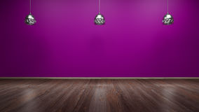 Gallery interior with empty wall and lights 3d render Stock Photography