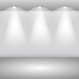 Gallery Interior with empty wall and lights eps 10 Stock Photos