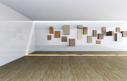 Gallery interior with empty wood shelves Royalty Free Stock Images