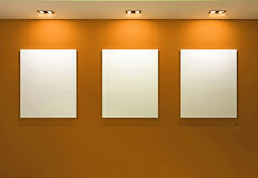 Free Gallery Interior With Empty Frames On Orange Wall Royalty Free Stock Photo - 20512945