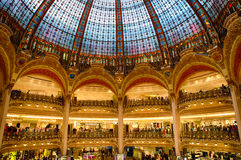 Gallery Lafayette. Dome of the building Gallery Lafayette royalty free stock photos