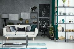 Gallery in living room interior Stock Images