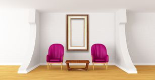 Gallery with luxurious chairs and wooden table Stock Photography