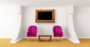 Gallery with luxurious chairs and wooden table Royalty Free Stock Photography