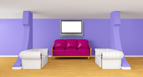 Gallery with luxurious sofas with lcd tv Stock Photo
