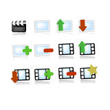 Gallery media video icons. Vector icon set for video multimedia image picture galleries useful on web pages when you need to upload, download, delete, add, mark Royalty Free Stock Photography