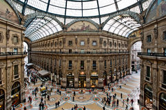 Gallery in Milan. Milan, Italy - May 2, 2012: Galleria Vittorio Emanuele II seen from above. The picture offers a unique point of view of the Galleria where it Stock Photo