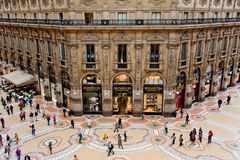 Gallery in Milan. Milan, Italy - May 2, 2012: Unique view of Galleria Vittorio Emanuele II seen from above. Built in 1875 this gallery is one of the most popular Royalty Free Stock Image