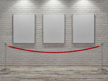 Gallery mock up poster with stand barriers Royalty Free Stock Photos