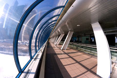 Gallery modern architecture interior. Modern contemporary architecture in Moscow (Russia): interior of pedestrian bridge BAGRATION (a landmark) which combines Stock Photo